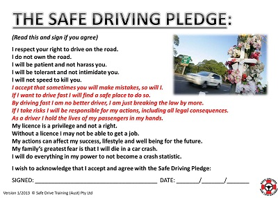 Safe Teen Driving Pledge Get 86